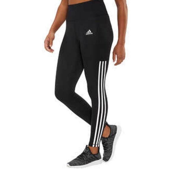 Adidas High Rise Leggings 3-stripe 7/8 Tights NEW